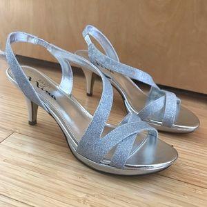 NWOT Silver Sparkle Sandals